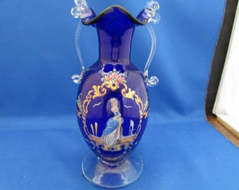 Hand Blown Cobalt Blue Ruffle Lip Vase