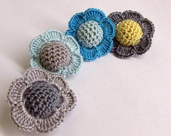Crocheted beads - flowers, 20 mm handmade round balls cotton on wood, blue gray mix