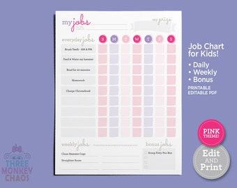 Printable Chore Chart - PINK | Daily, Weekly, Bonus Job Chart | Kids Chores & Tasks | Responsibilities Checklist | Editable PDF Download