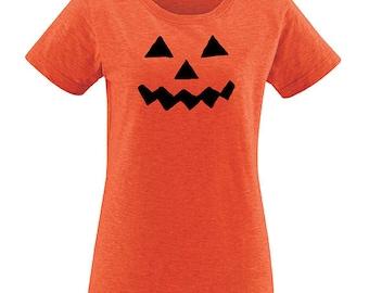 Halloween Pumpkin Face Womens T Shirt - Halloween Womens Tee - Shirt for Women PolyBlend / Vintage School Teaching Tshirt
