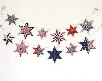 4th of July Banner, 4th of july decorations, Printable 4th of july stars banner, 4th of july red white and blue decoration, Instant download