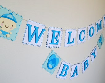 welcome baby banner baby shower banner blue and white baby banner