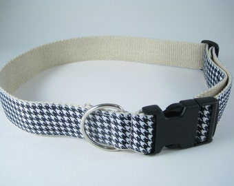 Houndstooth - black and white extra large hemp dog collar