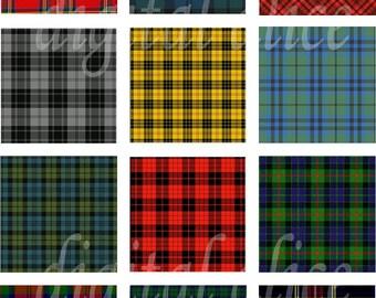Colorful TARTAN PLAIDS- Instant Download Paper Crafts collage sheet - scottish clan tartan squares -decoupage,craft squares