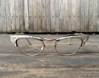 1950s Embellished Silver Cat's Eye Glasses