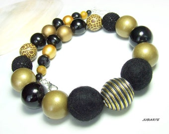 GOLD & BLACK Necklace, Wooden Necklace, Felt Balls, Large Balls, Fimo, Thick Necklace, Ethnic