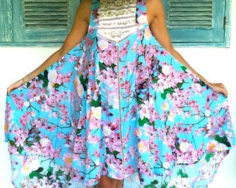 Aqua Cherry Blossom Lace PHOEBE Dress - Ladies Cocktail Dress, Pink Maxi Dress with High Low Hem