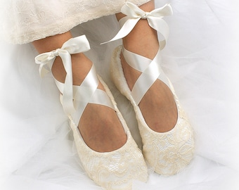 Custom Ballet Flats,Champagne Flats,Wedding Flats,Ballet Slippers,Lace Ballet Flats,Flower Girl Shoes,Elegant Wedding,Vintage Style Flats