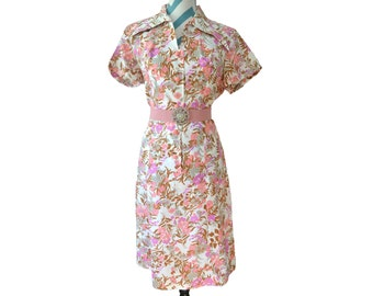 Vintage 1940s Floral Spring Dress by Lee Holliday - Union Made Flower Printed Pink, Purple, Brown, Cream Medium Large Easter Dress