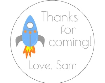 12 Rocket Theme Stickers, Blue Rocket, First Birthday, Outerspace Theme, Space Party, Rocket Theme, Rocket Labels, Space Birthday