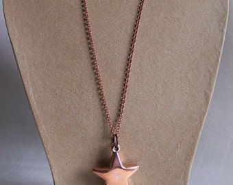 Copper star Five points star necklace copper chain