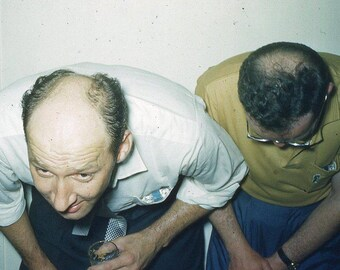 Vintage 35mm Photo Slide Abstract Whimsical Men Bald Head Bald Spot