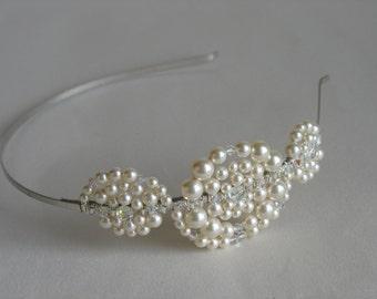Pearl headband, wedding headpiece.