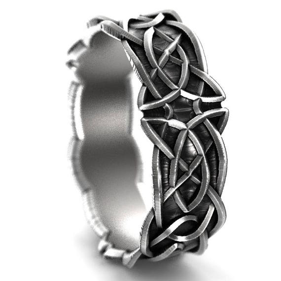 Celtic Wedding Ring With Trinity Knot Design in Sterling Silver, Made in Your Size CR-1037