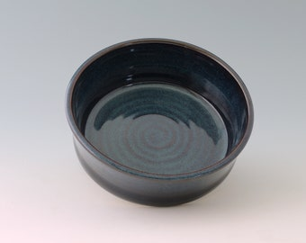 Pet Food or Water Bowl LARGE Dog Ceramic Stoneware Handmade Pottery Multiple Sizes and Tan/Brick, Blue/Black, Black/White, or Blue/Green