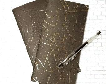 Black and Gold Astrology Gel Ink Journal - Standard Traveler's Notebook Insert - TN Blank Book - Black - Handmade Journal Insert - Set of 2