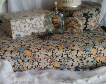 French vintage Large Fabric Covered Jewelry box...Shabby Chic...Fabric Storage Box..French Boudoir..Paris Appartement...Gloves box..Brocante