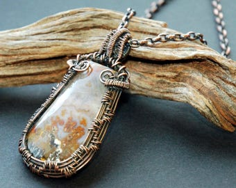 Wire Wrapped Stone Pendant, Hand Woven Wire Weave Pattern, Teardrop Shape Mossy Agate Pendant, Beautiful Natural Colors , Antiqued Patina
