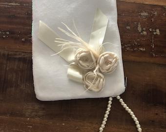 White  Bridal Clutch, Ivory Wedding Clutch, White Purse,  Pearl Wristlet Clutch, Clutch with Ivory Satin Flower, White Clutch, Sequin Clutch