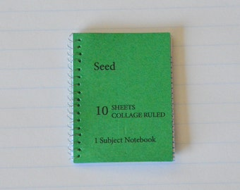 1:6th Scale - Barbie - Fashion Doll - Miniature Spiral Notebook - with Lined Pages - Really Opens - Green