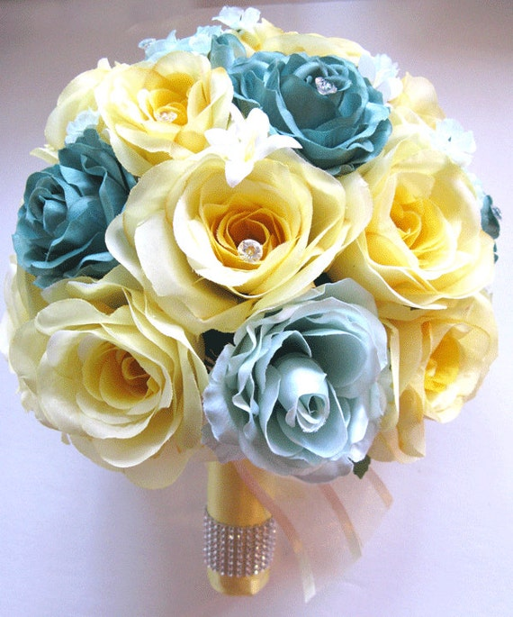 Wedding Silk flowers Bouquet Bridal 17 piece Package YELLOW