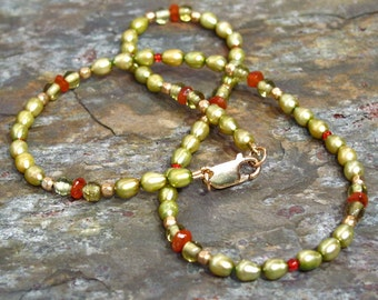 Olive Green Freshwater Pearl Necklace with Hand Faceted Carnelian Beads, Peridot Glass and 14Kt GF Spacers ~ 17 inches