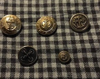 Vintage nautical theme buttons-set of 5-La Petite-Canal de Vieux-gold tone-1960s-antique-sewing-clothing