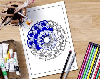 Mandala Coloring Pages Adults Printable : Mandala coloring page printable for adults downloadable