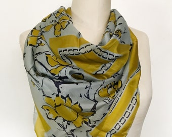 Vintage Vera Silk Scarf - 1950s - Blue and Yellow Floral