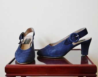 Blue suede shoes // Vintage 1970's blue sling back sandals mules  8.5