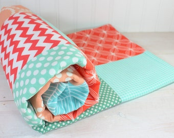 Minky Baby Blanket, Baby Bedding, Nursery Decor, Baby Blanket, Patchwork Quilt, Baby Gift,  Peach, Coral, Mint Green, Mint, White