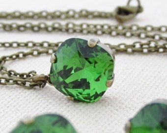 Green Rhinestone Necklace, Green Swarovski Necklace and Earrings, Matching Jewelry, Fern Green Rhinestone Jewelry, Matching Jewelry Set