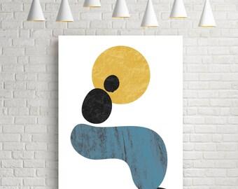 Silhouette, abstract art print, minimalist poster, living room decor, mid century wall art, watercolour art, modern art print, textured art