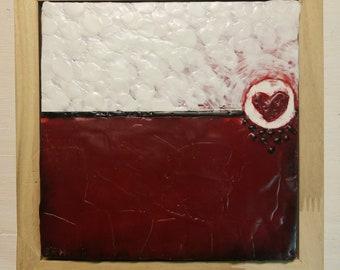 Bleeding Heart, Encaustic Painting
