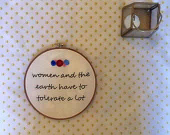 Floral Quote Embroidered Hoop Art