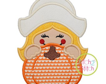 Pilgrim Girl Pumpkin Peeker Applique for Machine Embroidery (Shown with our Empress Monogram NOT included) INSTANT DOWNLOAD