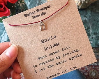 Music Note Bracelet, Music Gift, Musical Gift, Thespian gift, Theater Bracelet, Gift for Musician, Drama Major Gift, Personalised Card Free