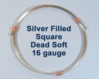 16ga SQ DS Square Silver Filled Wire - Choose Your Length