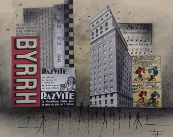 "Mixed media / mixed media ""Urban"" original artwork: watercolor / collage / charcoal / ink"