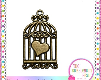 34mm ANTIQUED BRONZE BIRDCAGE Charm, Qty 5, Bracelet Charm, Jewelry Supply, Boho Charm, Charm, Bird Charm, Charm, The Bubblegum Bead Co.