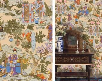 Dollhouse Miniature Wallpaper, Chinoiserie in Technicolor, Scale One Inch