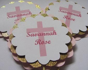 Baptism Centerpieces, Pink and Gold Centerpiece Sticks ,  Personalized centerpiece, Birthday centerpiece, OR Vase Decor Set of 3