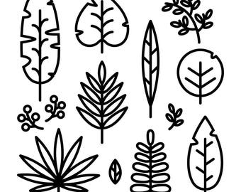 Tropical Leaves line icon set