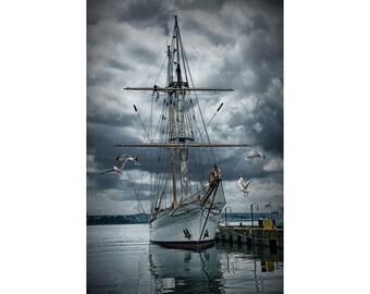 Tall Masted Schooner Sail Boat in Halifax Harbor in Nova Scotia Canada No.103 A Fine Art Nautical Ship Seascape Photograph