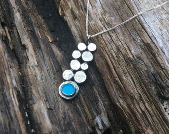 Sea glass jewelry,  Bezel set turquoise blue sea glass and recycled sterling silver necklace