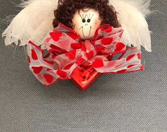 Valentine Angel Red Heart Ornament