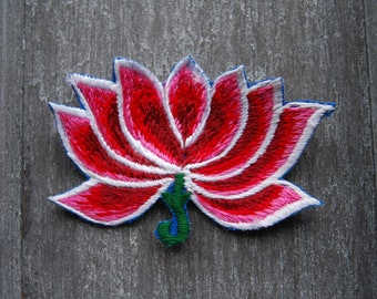 Lotus Flower Patch Embroidered Sew on Applique