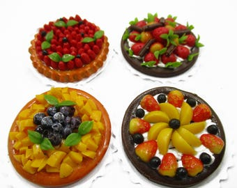 Dollhouse Miniatures Food 4 Fruit Pies Tart Toy food 2.5cm Dessert Bakery Supply Charms 14649