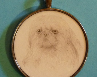 Pekingese Original Pencil Drawing Pendant with Organza Pouch -Choice of Necklaces -Free Shipping- Desert Impressions