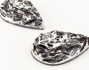 28mm Antique Silver Teardrop Cabochon with Rough Texture #UP540